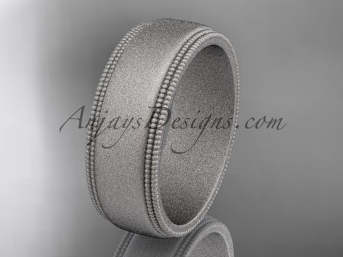 White Matte Finish Gold Milgrain Wedding Band 7mm WB50507G
