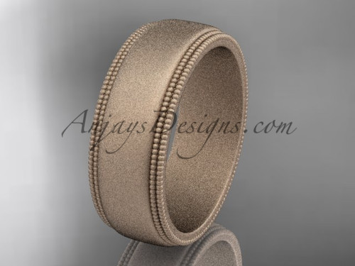 Rose Matte Finish Gold Milgrain Wedding Band 7mm WB50507G