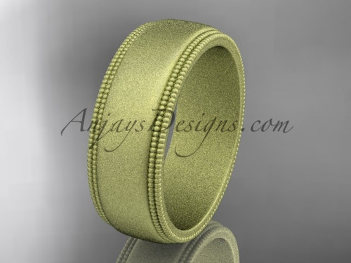 Yellow Matte Finish Gold Milgrain Wedding Band 7mm WB50507G