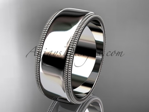 14kt White Gold Milgrain Wedding Band 8mm WB50508G