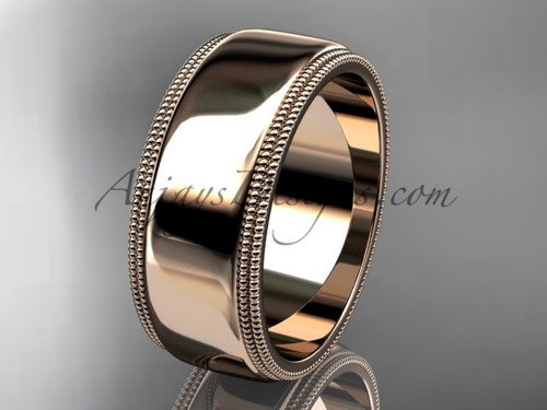 14kt Rose Gold Milgrain Wedding Band 8mm WB50508G
