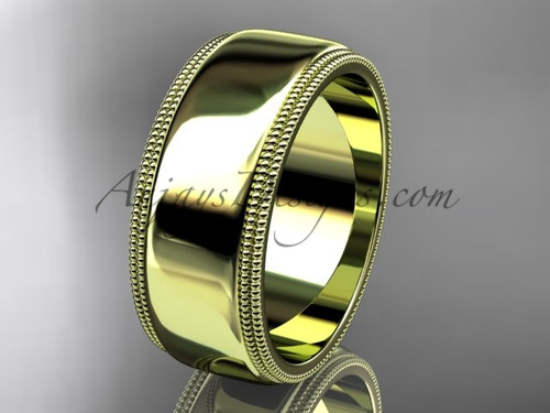 14kt Yellow Gold Milgrain Wedding Band 8mm WB50508G