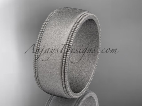 White Matte Finish Gold Milgrain Wedding Band 8mm WB50508G