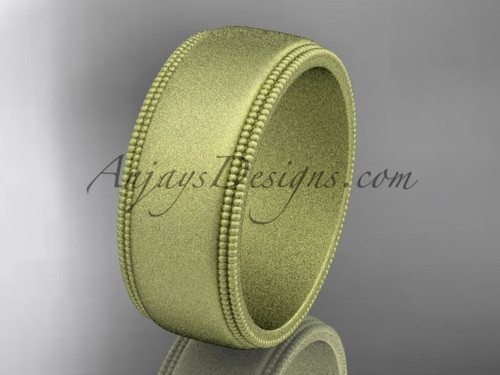 Yellow Matte Finish Gold Milgrain Wedding Band 8mm WB50508G