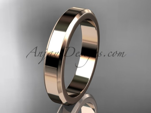 14kt Pink Gold 4mm plain wedding band for men WB50704G