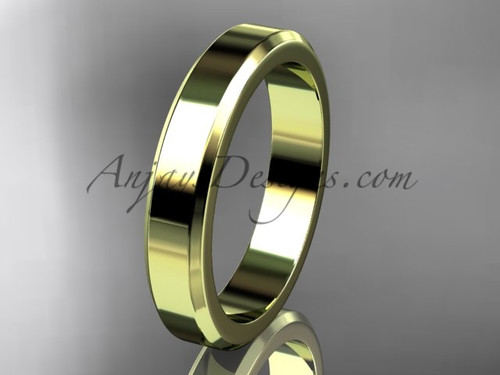 14kt Yellow Gold 4mm plain wedding band for men WB50704G