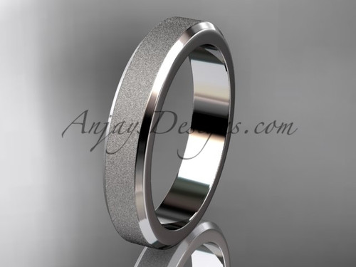 White matte gold 4mm plain wedding band for men B50704G