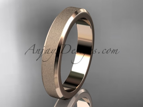 Rose matte gold 4mm plain wedding band for men B50704G