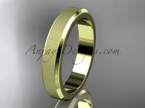 Yellow matte gold  4mm plain wedding band for men WB50704G