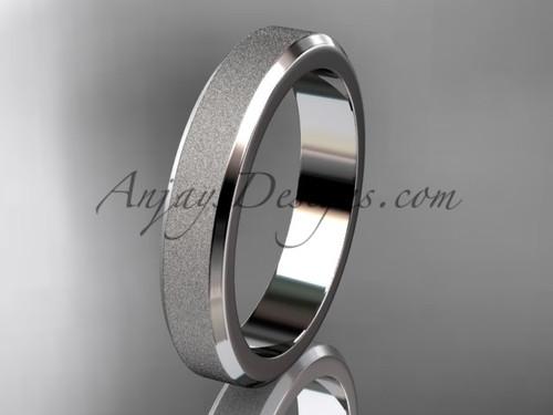 Platinum matte 4mm plain wedding band for men B50704G