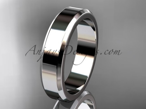 14kt White Gold 5mm plain wedding band for men WB50705G