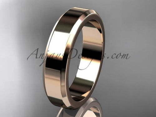 14kt Pink Gold 5mm plain wedding band for men WB50705G