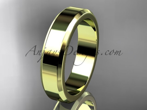 14kt Yellow Gold 5mm plain wedding band for men WB50705G