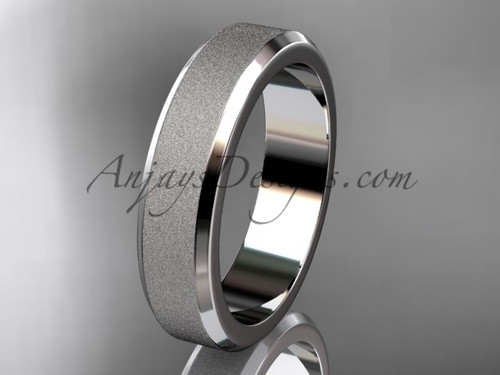 White matte gold 5mm plain wedding band for men WB50705G