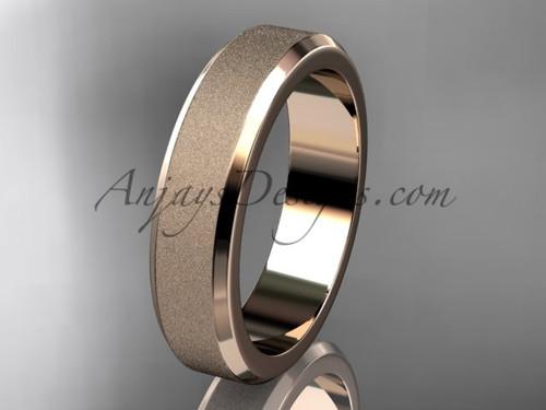 14k rose matte finish gold plain 5mm wide engagement rings for men WB50705G