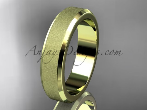 Yellow matte gold 5mm plain wedding band for men WB50705G