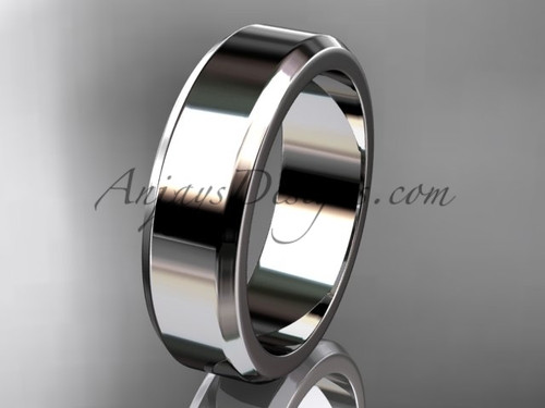 14kt White Gold 6mm plain wedding band for men WB50706G