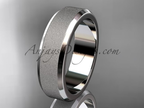 White matte gold 6mm plain wedding band for men WB50706G