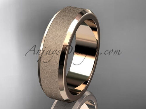 Rose matte gold 6mm plain wedding band for men WB50706G
