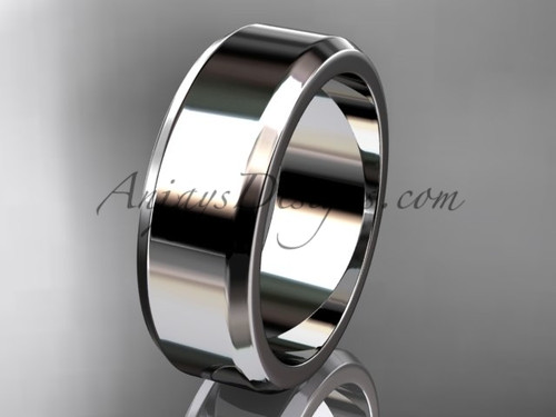 14kt White Gold 7mm plain wedding band for men WB50707G