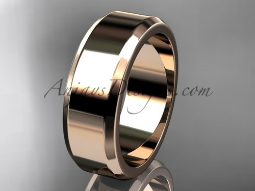 14kt Rose Gold 7mm plain wedding band for men WB50707G