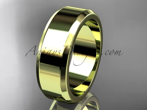 14kt Yellow Gold 7mm plain wedding band for men WB50707G
