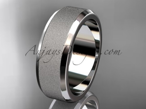 White matte gold 7mm plain wedding band for men WB50707G