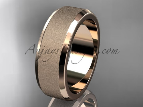 Rose matte gold 7mm plain wedding band for men WB50707G