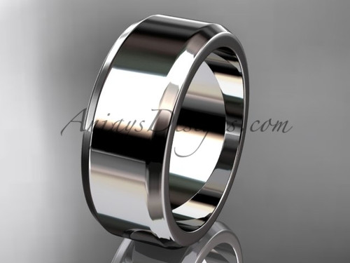 14k white gold plain 8mm wide engagement rings for men WB50708G