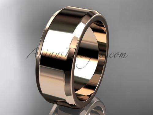 14kt Rose Gold 8mm plain wedding band for men WB50708G