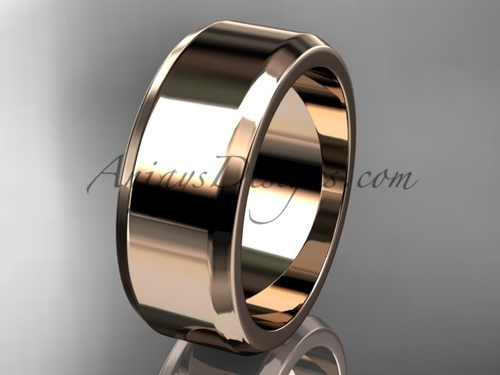14kt Rose Gold 8mm plain wedding band for men WB50708G