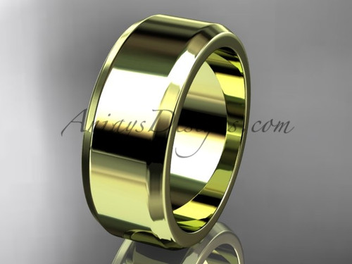 14kt Yellow Gold 8mm plain wedding band for men WB50708G
