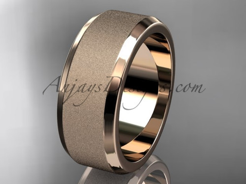 Rose matte gold 8mm his and hers wedding band WB50708G