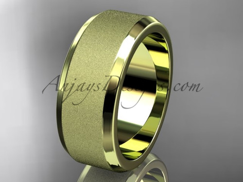 Yellow matte gold 8mm plain wedding band for men WB50708G