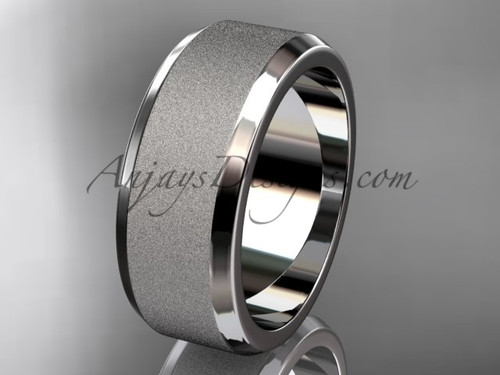 Platinum matte 8mm his and hers wedding band WB50708G