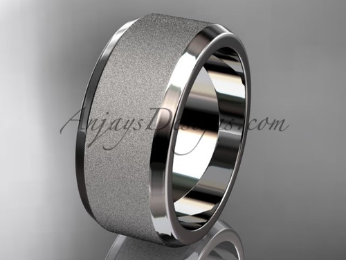 White matte gold 9mm plain wedding band for men WB50709G