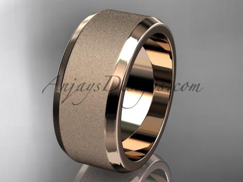 Rose matte gold 9mm plain wedding band for men WB50709G