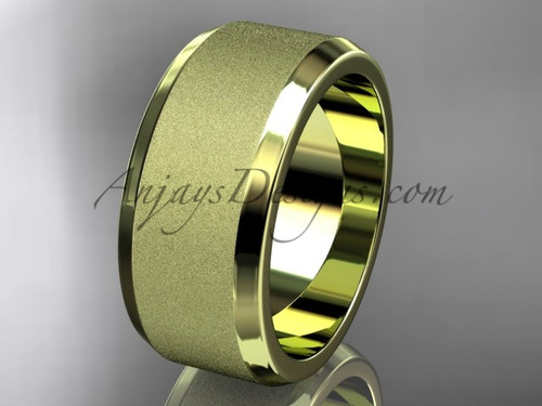 Yellow matte gold 9mm his and hers wedding band WB50709G