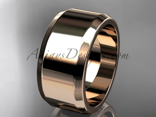 14kt Rose Gold 10mm plain wedding band for men WB50710G
