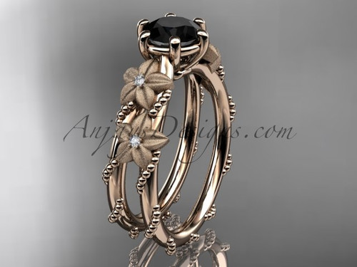 14kt rose  gold diamond floral, leaf and vine wedding ring, engagement ring with  Black Diamond center stone ADLR66