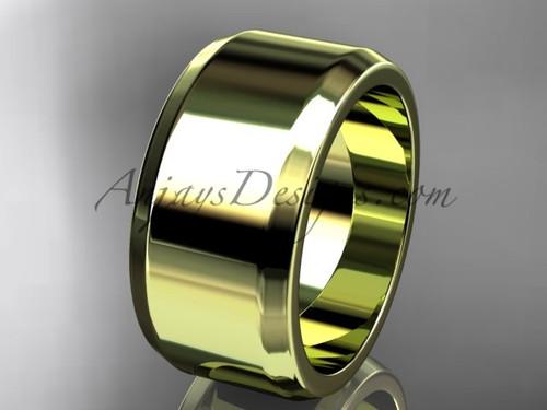 14kt Yellow  Gold 10mm plain wedding band for men WB50710G