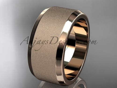 Rose matte gold 10mm plain wedding band for men WB50710G