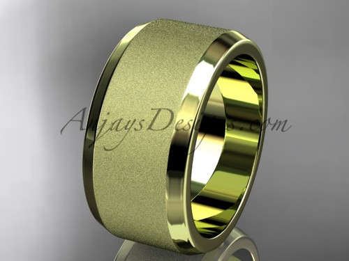 Yellow matte gold 10mm his and hers wedding band WB50710G