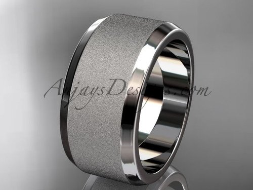 Platinum matte 10mm plain wedding band for men WB50710G