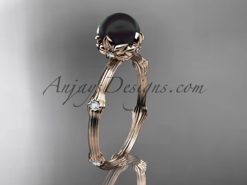 Black Pearl Rose Gold Diamond Flower Engagement Ring ABP38