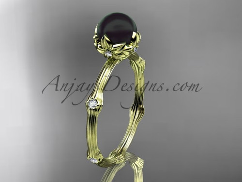 Black Pearl Yellow Gold Diamond Flower Engagement Ring ABP38