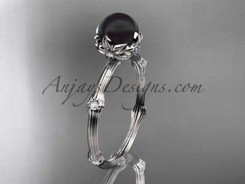 Black Pearl Platinum Diamond Flower Engagement Ring ABP38