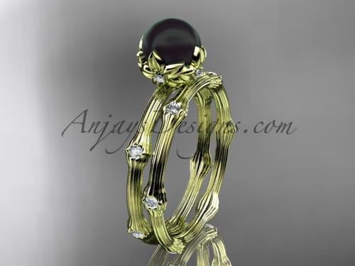 Black Pearl Yellow Gold Diamond Flower Engagement Set AP38S