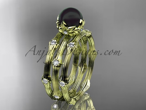 Black Pearl Yellow Gold Flower Wedding Ring Set ABP38S