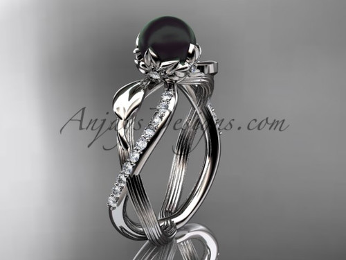 Black Pearl Flower Engagement Ring - White Gold Ring ABP70